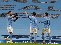 10th January 2021; Etihad Stadium, Manchester, Lancashire, England; English FA Cup Football, Manchester City versus Birmingham City; Phil Foden of Manchester City celebrates scoring his side's third goal after 33 minutes for 3-0