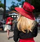 OCEANPORT, NJ - JUL 30: A woman wears a fancy pink hat on Fourstardave Stakes Day at Saratoga Race Course on August 12, 2017 in Saratoga Springs, New York (Photo by Scott Serio/Eclipse Sportswire/Getty Images)