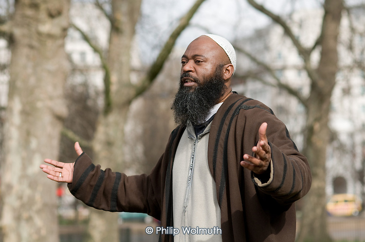 A Muslim preacher at Speakers Corner, London