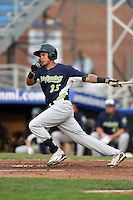 Vermont Lake Monsters shortstop Yairo Munoz (15) at bat during a game against the Jamestown Jammers on July 12, 2014 at Russell Diethrick Park in Jamestown, New York.  Jamestown defeated Vermont 3-2.  (Mike Janes/Four Seam Images)
