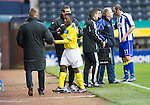 Kilmarnock v St Johnstone..24.11.12      SPL.Nigel Hasselbaink goes off injured after being tackled by Mauel Pascali who was sent off.Picture by Graeme Hart..Copyright Perthshire Picture Agency.Tel: 01738 623350  Mobile: 07990 594431
