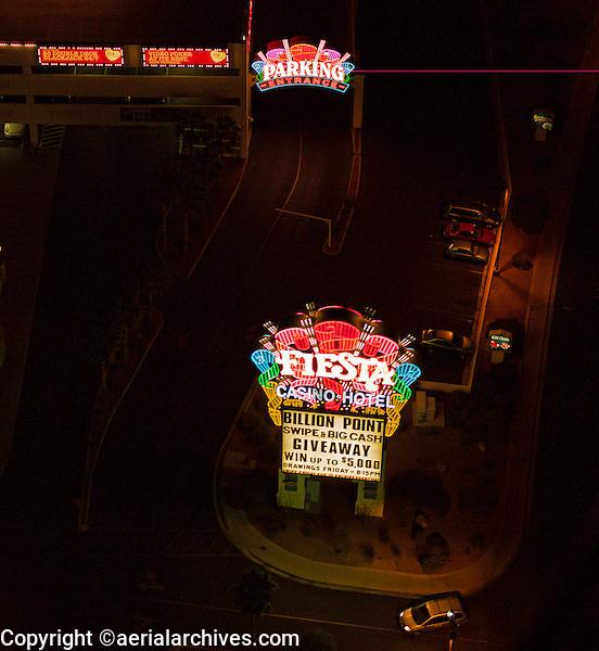 aerial photograph night time Fiesta Casino Hotel, Las Vegas, Clark County, Nevada