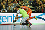 Leipzig, Germany, February 08: during the men gold medal match between The Netherlands(orange) and Austria (white) on February 8, 2015 at the FIH Indoor Hockey World Cup at Arena Leipzig in Leipzig, Germany. Final score 3-2 (2-1). (Photo by Dirk Markgraf / www.265-images.com) *** Local caption ***