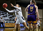 SIOUX FALLS, SD - MARCH 7: Paige Bradford #23 of the UMKC Kangaroos takes the ball to the basket against the Western Illinois Leathernecks during the Summit League Basketball Tournament at the Sanford Pentagon in Sioux Falls, SD. (Photo by Dave Eggen/Inertia)