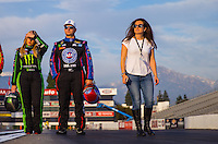 Feb 8, 2017; Pomona, CA, USA; NHRA top fuel driver Brittany Force (left), funny car driver Robert Hight and producer Ashley Force Hood during media day at Auto Club Raceway at Pomona. Mandatory Credit: Mark J. Rebilas-USA TODAY Sports