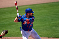 New York Mets Pete Alonso (20) bats during a Major League Spring Training game against the St. Louis Cardinals on March 19, 2021 at Clover Park in St. Lucie, Florida.  (Mike Janes/Four Seam Images)