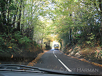 """""""Wide Bus, Narrow Road"""" by Art Harman This was a harrowing passage between my car and a bus on a road comfortable for one or the other. But in the UK, such roads are common, and we passed by inches without incident. Sometimes ancient hedgerows will have a groove carved by many side mirrors during such encounters. Sussex, England."""