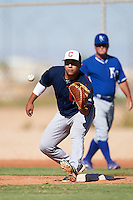Cleveland Indians Ulysses Cantu (23) during an Instructional League game against the Kansas City Royals on October 11, 2016 at the Cleveland Indians Player Development Complex in Goodyear, Arizona.  (Mike Janes/Four Seam Images)