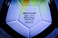 Columbus, Ohio - Thursday March 01, 2018: NIKE ball SheBelieves Cup during a 2018 SheBelieves Cup match between the women's national teams of the United States (USA) and Germany (GER) at MAPFRE Stadium.