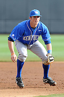 Third Baseman Thomas McCarthy #25 awaits a play during a  game against the Tennessee Volunteers at Lindsey Nelson Stadium on March 24, 2012 in Knoxville, Tennessee. The game was suspended in the bottom of the 5th with the Wildcats leading 5-0. Tony Farlow/Four Seam Images.