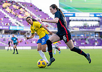 ORLANDO, FL - FEBRUARY 21: Rose Lavelle #16 of the USWNT dribbles during a game between Brazil and USWNT at Exploria Stadium on February 21, 2021 in Orlando, Florida.