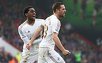 Gylfi Sigurdsson of Swansea City celebrates scoring his sides second goal during the Barclays Premier League match between AFC Bournemouth and Swansea City played at The Vitality Stadium, Bournemouth on March 11th 2016