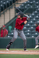 AZL Diamondbacks designated hitter LT Tolbert (9) at bat during the completion of a suspended Arizona League game against the AZL Angels at Tempe Diablo Stadium on July 16, 2018 in Tempe, Arizona. The game was a continuation of the July 11, 2018 contest that was suspended by rain in the middle of the eighth inning. The AZL Diamondbacks defeated the AZL Angels 12-8. (Zachary Lucy/Four Seam Images)