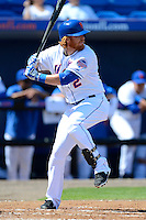 New York Mets second baseman Justin Turner #2 during an exhibition game against the Michigan Wolverines at Tradition Field on February 24, 2013 in St. Lucie, Florida.  New York defeated Michigan 5-2.  (Mike Janes/Four Seam Images)