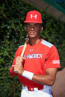 Jeremiah Jackson (1) of St. Luke's Episcopal High School in Mobile, Alabama poses for a photo before the Under Armour All-American Game presented by Baseball Factory on July 29, 2017 at Wrigley Field in Chicago, Illinois.  (Mike Janes/Four Seam Images)