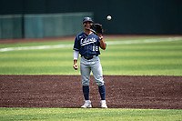Liberty Flames shortstop Cam Locklear (18) on defense against the Duke Blue Devils in NCAA Regional play on Robert M. Lindsay Field at Lindsey Nelson Stadium on June 4, 2021, in Knoxville, Tennessee. (Danny Parker/Four Seam Images)