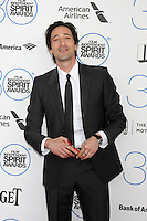 LOS ANGELES - FEB 21:  Adrien Brody at the 30th Film Independent Spirit Awards at a tent on the beach on February 21, 2015 in Santa Monica, CA