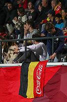 Illustration picture shows a Belgian supporter placing the Belgian flag before a soccer game between the national teams Under21 Youth teams of Belgium and Kazakhstan on the third matday in group I for the qualification for the Under 21 EURO 2023 , on friday 8 th of october 2021  in Leuven , Belgium . PHOTO SPORTPIX | SEVIL OKTEM