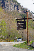 Entering Crawford Notch State Park sign on Route 302. Located in the White Mountains, New Hampshire USA.