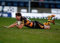 Photo: Richard Lane/Richard Lane Photography. London Wasps v Rugby Mogliano. Amlin Challenge Cup. 12/01/2013. Wasps' ?? scores a try.