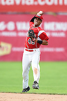 Batavia Muckdogs second baseman Iramis Olivencia (49) throws to first during the second game of a doubleheader against the Connecticut Tigers on July 20, 2014 at Dwyer Stadium in Batavia, New York.  Connecticut defeated Batavia 2-0.  (Mike Janes/Four Seam Images)