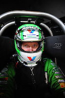 Jun. 17, 2012; Bristol, TN, USA: NHRA funny car driver Jack Beckman during the Thunder Valley Nationals at Bristol Dragway. Mandatory Credit: Mark J. Rebilas-