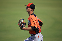 Baltimore Orioles Mike Odenwaelder (14) during an instructional league game against the Tampa Bay Rays on September 25, 2015 at Ed Smith Stadium in Sarasota, Florida.  (Mike Janes/Four Seam Images)