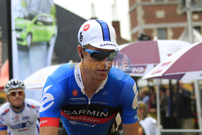 Tylar Farrar (USA) Garmin-Sharp arrives at sign on before the start of Stage 2 of the 99th edition of the Tour de France 2012, running 207.5km from Vise to Tournai, Belgium. 2nd July 2012.<br /> (Photo by Eoin Clarke/NEWSFILE)