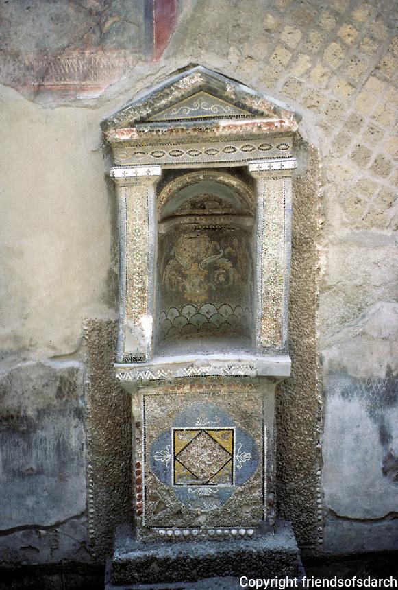 Italy: Herculaneum--small household shrine, Casa Dello Schelletro. Photo '83.