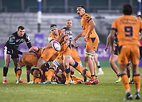 1st May 2021; Recreation Ground, Bath, Somerset, England; European Challenge Cup Rugby, Bath versus Montpellier; Mohamed Haouas passes the ball back to Benoit Paillaugue of Montpellier
