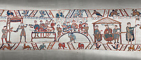 Bayeux Tapestry scene 43 - 44:  Duke William, his barons and Bishop Odo hold a banquet to celebrate their safe arrival in England.