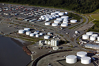 aerial photograph of oil storage tanks and containers at the Port of Anchorage, Alaska