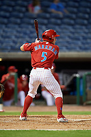 Clearwater Threshers right fielder Kevin Markham (5) at bat during a game against the Jupiter Hammerheads on April 12, 2018 at Spectrum Field in Clearwater, Florida.  Jupiter defeated Clearwater 8-4.  (Mike Janes/Four Seam Images)