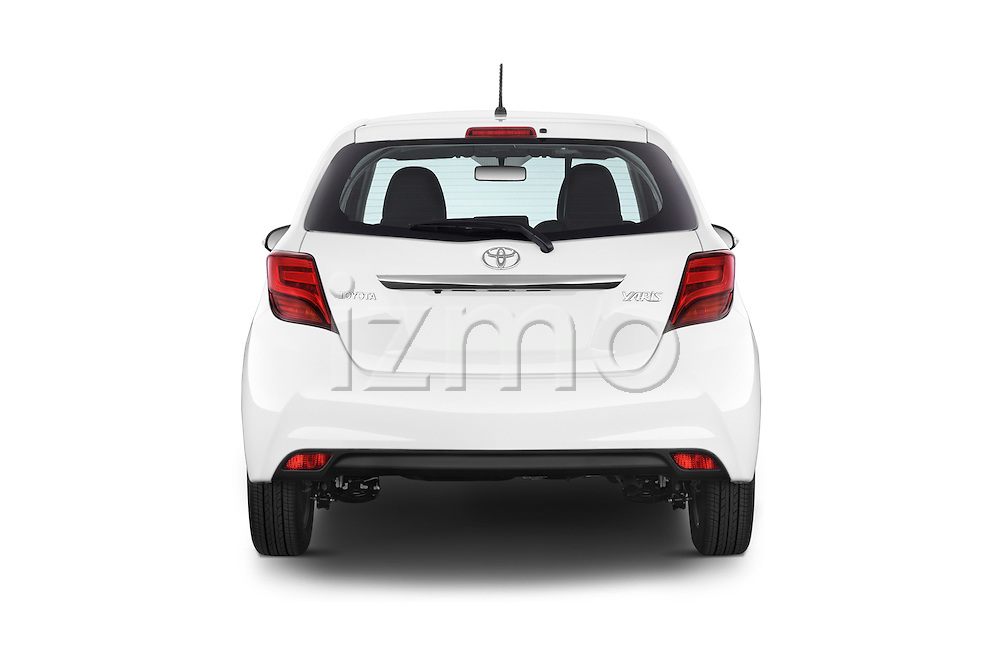 Straight rear view of a 2015 Toyota YARIS Dynamic 5 Door Hatchback 2WD Rear View  stock images