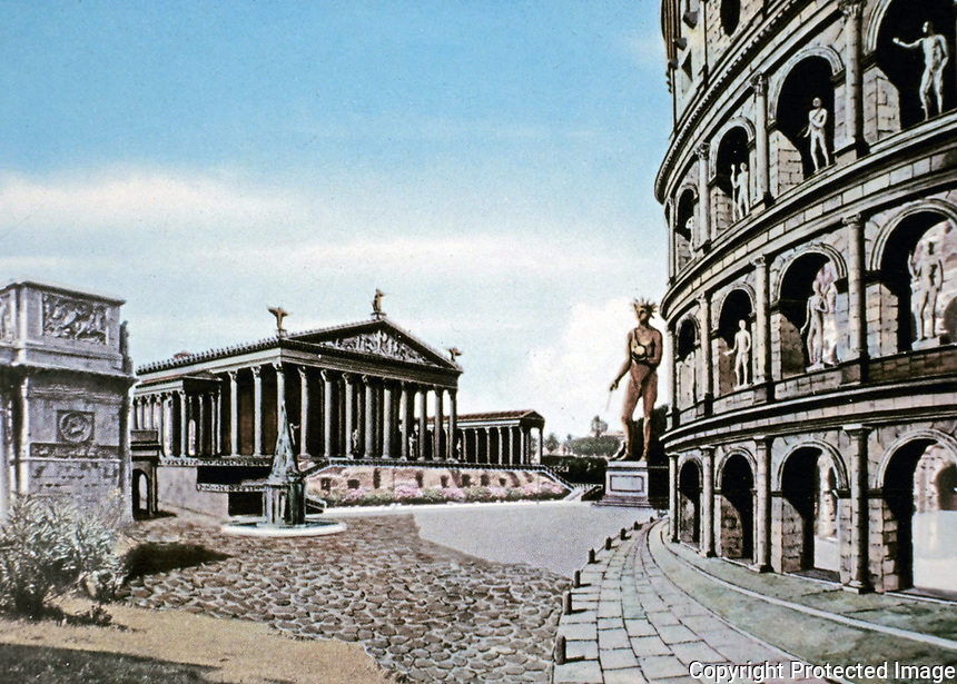 Artists color representation of the exterior of the Colosseum, Rome Italy, 70 - 80 CE