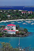 BOATS anchored in CRUZ BAY - ST. JOHN ISLAND, U.S. VIRGIN ISLANDS, CARIBBEAN