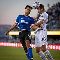 SAN JOSE, CA - JUNE 26: Oswaldo Alanis #4 of the San Jose Earthquakes heads the ball during a game between Los Angeles Galaxy and San Jose Earthquakes at PayPal Park on June 26, 2021 in San Jose, California.