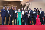 """Cannes Film Festival 2021 . 74th edition of the 'Festival International du Film de Cannes' under Covid-19 outbreak on 08/07/2021 in Cannes, France. US actor Matt Damon and French actress Camille Cottin arrive for the screening of the film """"Stillwater"""" from  director Tom McCarthy.  (FromL) Screenwriters Thomas Bidegain and Noe Debre, French actor Idir Azougli, US actor Matt Damon, US actress Abigail Breslin, US director Tom McCarthy, French actress Camille Cottin, actor moussa Maaskri, actor Gregory Di Meglio, producer Liza Chasin and French actress Lilou Siauvaud.<br /> © Pierre Teyssot / Maxppp"""