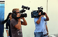 Wednesday 28 August 2013<br /> Pictured: Romanian media film Swansea City's arrival at Bucharest Airport.<br /> Re: Swansea City FC arrive to Romania for a press conference and training session, a day before their UEFA Europa League, play off round, 2nd leg, against Petrolul Ploiesti in Romania.
