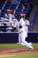 Tampa Yankees shortstop Jorge Mateo (14) at bat during a game against the Lakeland Flying Tigers on April 8, 2016 at George M. Steinbrenner Field in Tampa, Florida.  Tampa defeated Lakeland 7-1.  (Mike Janes/Four Seam Images)