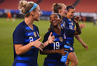 Cleveland, Ohio - Tuesday June 12, 2018: Julie Ertz, Crystal Dunn during an international friendly match between the women's national teams of the United States (USA) and China PR (CHN) at FirstEnergy Stadium.