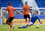 St Johnstone v Dundee United…22.08.21  McDiarmid Park    SPFL<br />Jamie Robson is tackled by Murray Davidson<br />Picture by Graeme Hart.<br />Copyright Perthshire Picture Agency<br />Tel: 01738 623350  Mobile: 07990 594431