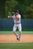 Detroit Tigers Jose Salas (76) throws to first base during a minor league Spring Training game against the Atlanta Braves on March 25, 2017 at the ESPN Wide World of Sports Complex in Orlando, Florida.  (Mike Janes/Four Seam Images)