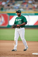Fort Wayne TinCaps first baseman Carlos Belen (27) during a game against the West Michigan Whitecaps on May 17, 2018 at Parkview Field in Fort Wayne, Indiana.  Fort Wayne defeated West Michigan 7-3.  (Mike Janes/Four Seam Images)