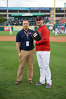 Buffalo Bisons Mike Ohlman (14) is presented with the teams Hometown Hero for his performance at Coca-Cola Field before a game against the Pawtucket Red Sox on August 31, 2017 at Coca-Cola Field in Buffalo, New York.  Buffalo defeated Pawtucket 4-2.  (Mike Janes/Four Seam Images)