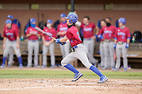 Right fielder David Sweat (23) of the Presbyterian College Blue Hose in a game against the University of South Carolina Upstate Spartans on Tuesday, March 23, 2021, at Cleveland S. Harley Park in Spartanburg, South Carolina. (Tom Priddy/Four Seam Images)