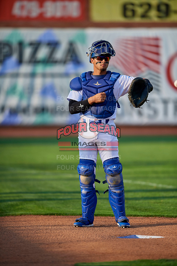 Ramon Rodriguez (7) of the Ogden Raptors before the game against the Grand Junction Rockies at Lindquist Field on September 9, 2019 in Ogden, Utah. The Raptors defeated the Rockies 6-5. (Stephen Smith/Four Seam Images)