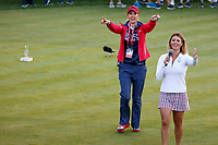 5th September 2021; Toledo, Ohio, USA;  Michelle Wie West of Team USA and Golf Channel announcer Amanda Balionis encourage the fans to do the wave at the first tee during the morning Four-Ball competition during the Solheim Cup on September 5, 2021 at Inverness Club in Toledo, Ohio. (Photo by Brian Spurlock/Icon Sportswire)