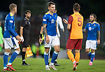 St Johnstone v Galatasaray…12.08.21  McDiarmid Park Europa League Qualifier<br />A dissappointed Jason Kerr pictured with Alpasian Ozturk at full time<br />Picture by Graeme Hart.<br />Copyright Perthshire Picture Agency<br />Tel: 01738 623350  Mobile: 07990 594431