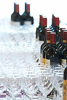 empty glasses and bottles for wine tasting saint emilion bordeaux france